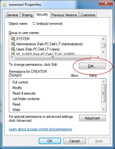 Installing IIS on Windows 7